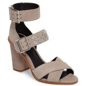 Rebecca Minkoff Taupe/Gray Studded Block Heel